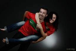 Photo de couple avec le maillot de football du Portugal